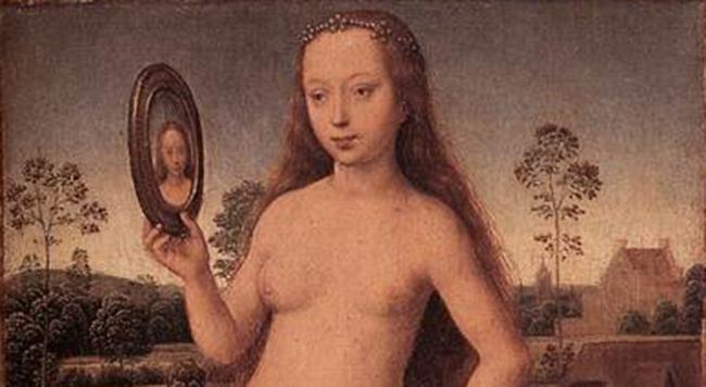Utsnitt fra «Triptych of Earthly Vanity and Divine Salvation», Hans Memling, ca 1485. Musée des Beaux-Arts de Strasbourg