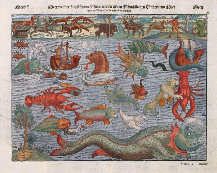 «Vidunderlige og selsomme dyr, slik de forekommer i midnattslandene til lands og til havs.» Fra Sebastian Münsters «Cosmographia», 1545.