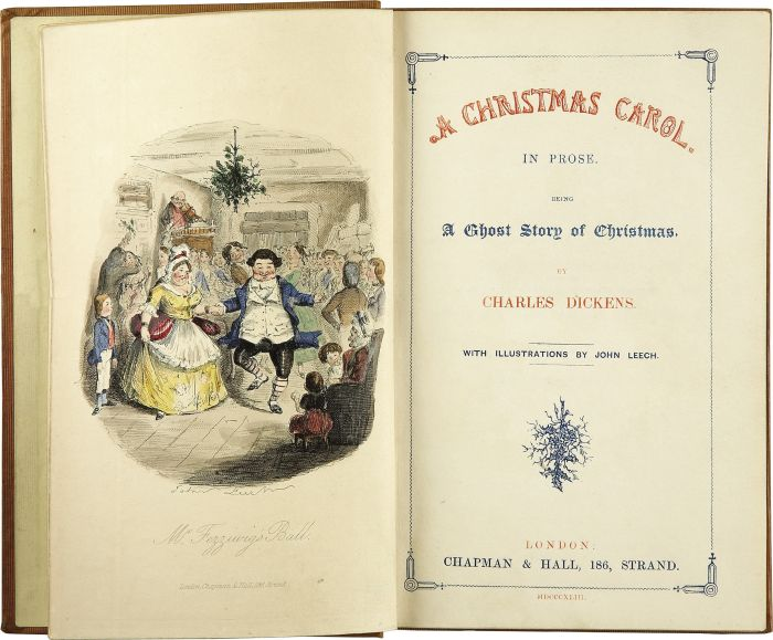 «A Christmas Carol. In Prose. Being a Ghost Story of Christmas.» Illustrert av John Leech. Tittelsiden av førsteutgaven, 1843. Kilde: Wikimedia Commons/Heritage Auctions