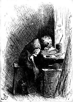 Dickens at the Blacking Warehouse. Charles Dickens is here shown as a boy of twelve years of age, working in a factory. Kilde: Wikimedia Commons/The Leisure Hour