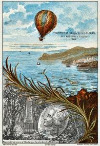 Blanchard og Jeffries krysser Den engelske kanal,  7. januar 1785. Kilde: Wikimedia Commons