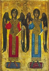 Erkeenglene Mikael og Gabriel med mørke vinger. Middelaldermaleri fra Katarinaklosteret på fjellet Sinai. Kilde: Wikimedia Commons