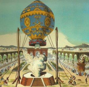 Den første bemannede luftballongen, bygget av Montgolfier-brødrene, tar av fra Bois de Boulogne i Paris, 21.  november, 1783. Kilde: Wikimedia Commons/Bildarchiv Preussuscher Kulturbesitz, Berlin