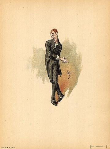 Den sleske Uriah Heep fra David Copperfield. Il.: Kyd (Joseph Clayton Clarke). Kilde: Wikimedia Commons/Old Book Art