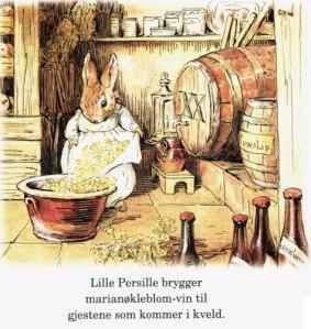 Nøkleblomvintilvirking i Beatrix Potters utforming.